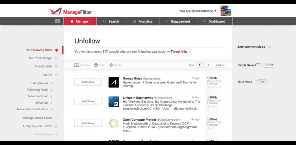Unfollow - ManageFlitter