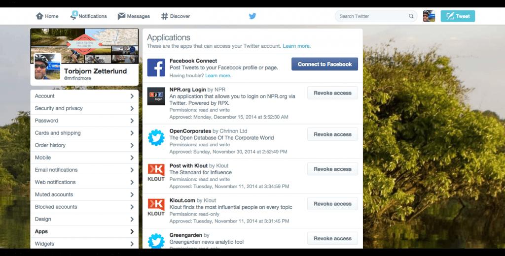 Twitter App Settings