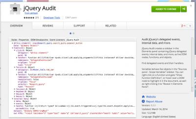 jQuery Audit - Chrome Web Store