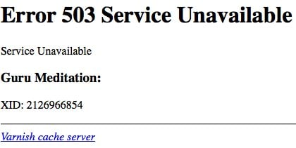 error 503 server unavailable