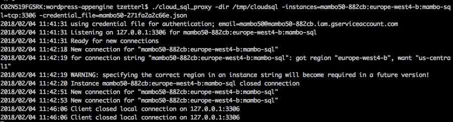 consolelog cloud sql proxy
