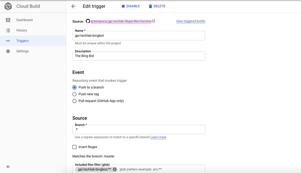Google cloud build trigger