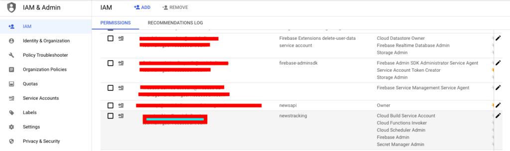 service account settings GCP